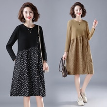 2020 Autumn Artistic Relaxed-Fit Casual Knitted Stitching Floral Dress Design Breasted A- line Midi