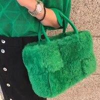 luxury faux fur woven women handbags designer brands lady hand bags lambswool large tote soft plush big winter bag purses 2021