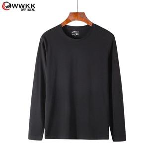 WWKK 2021 Mens  Harajuku Casual Solid Color T-shirt Long Sleeve Top Cropped Fashion Daily clothes shirt Loose  tshirt