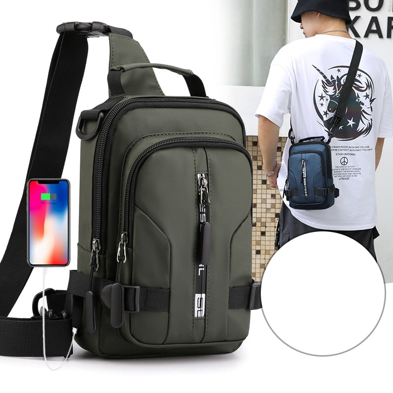 multifunction small backpack crossbody bag waterproof men chest bag 11 inch laptop ipad shoulder bag men s chest pack Weysfor Multifunction Crossbody Bag Men USB Charge Chest Pack Messengers Chest Bag Travle Waterproof Large Capacity Shoulder Bag