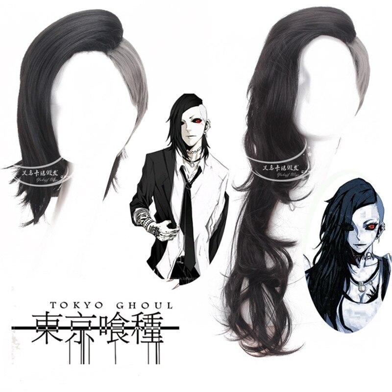 2019 Hot Anime Tokyo Ghoul Uta Cosplay Wig Fashion Men and Women Black Silver Grey Anime Hair Full Wig Long Curly Hair Halloween