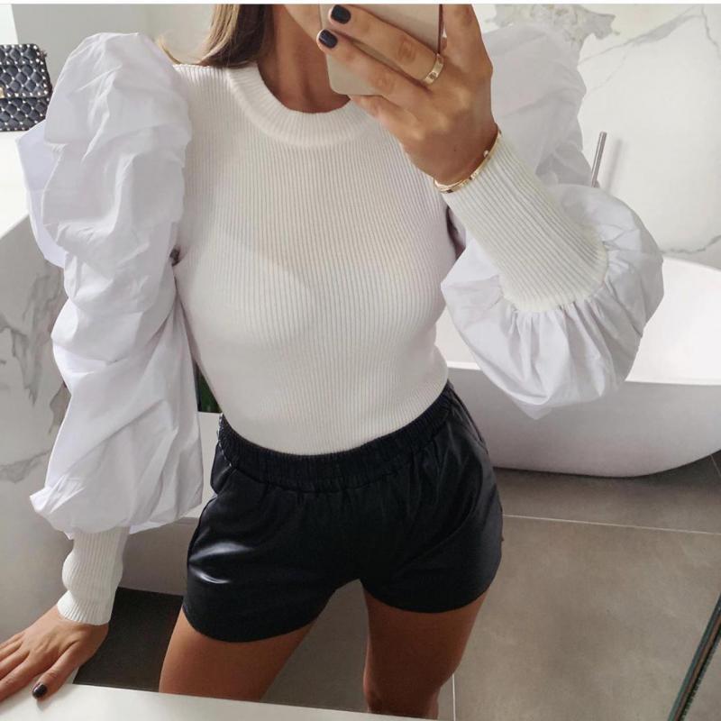 Retales blanco Puff manga blusa camisa mujer primavera O cuello volantes tejido blusas Vintage Casual marca camisetas