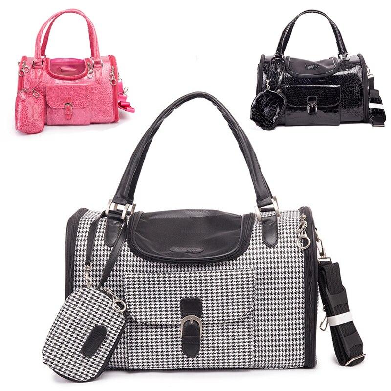 Nuevo hombro portátil mochila de viaje de soporte de hombro, manos libres para mascotas bolsa al aire libre para mascotas perro bolsa de cuero perro bolsa
