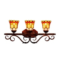 European Vintage Tiffany Red Glass Wall Mirror Lamp for Bathroom Bar Aisle Vintage Handmade 3 Heads Flowers Porch Light 1144