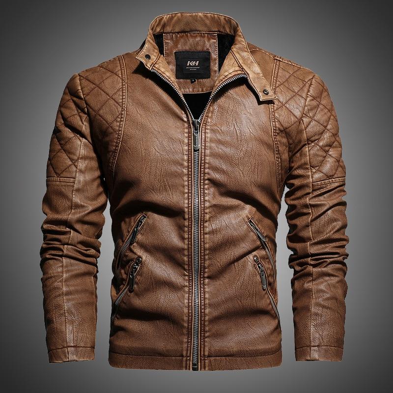 Chaqueta de cuero para hombre, abrigo de invierno, moda urbana, ropa Casual plisada, cremallera, chaquetas de motos, para hombres, forrado de piel