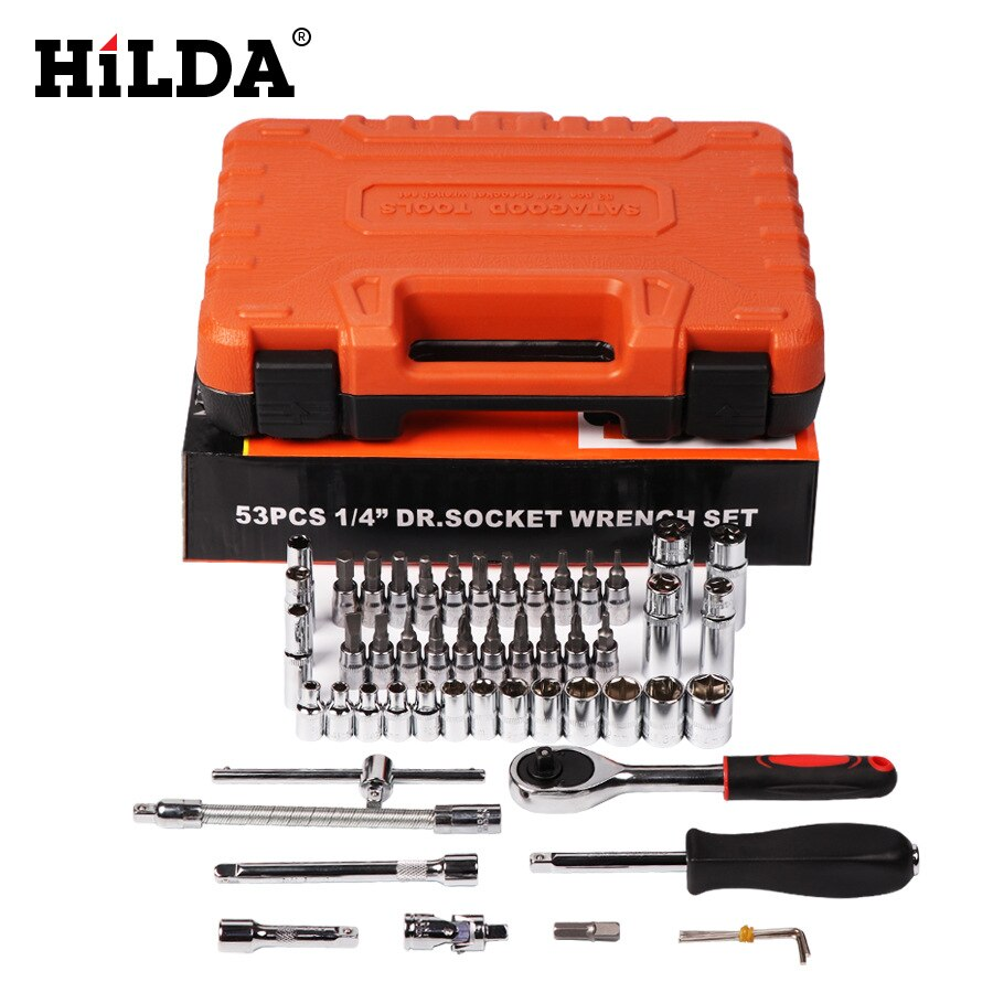 HILDA 53 pcs Car Repair Tool Sets Batch Head Socket Wrench Tool Set Auto Repair Mixed Tool Combination Package Hand Tool Kit
