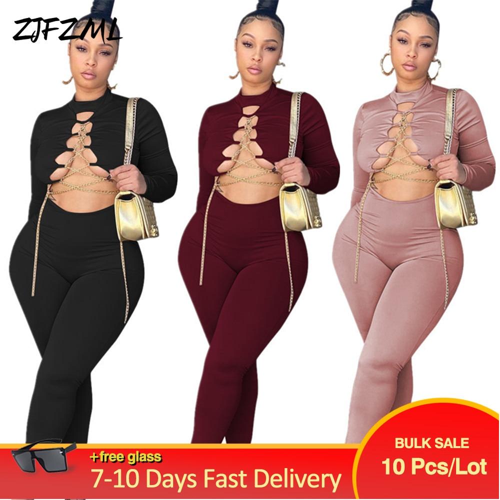 Bulk Items Wholesale Lots Early Autumn 2 Piece Set Women Solid Chain Spliced Crop Top Workout Legging Streetwear Y2K Clothing