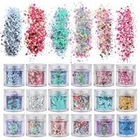 set of 45 chunky pink series nail glitter powder sequins powder for nail art decoration gradient set ultra fine nail glitter