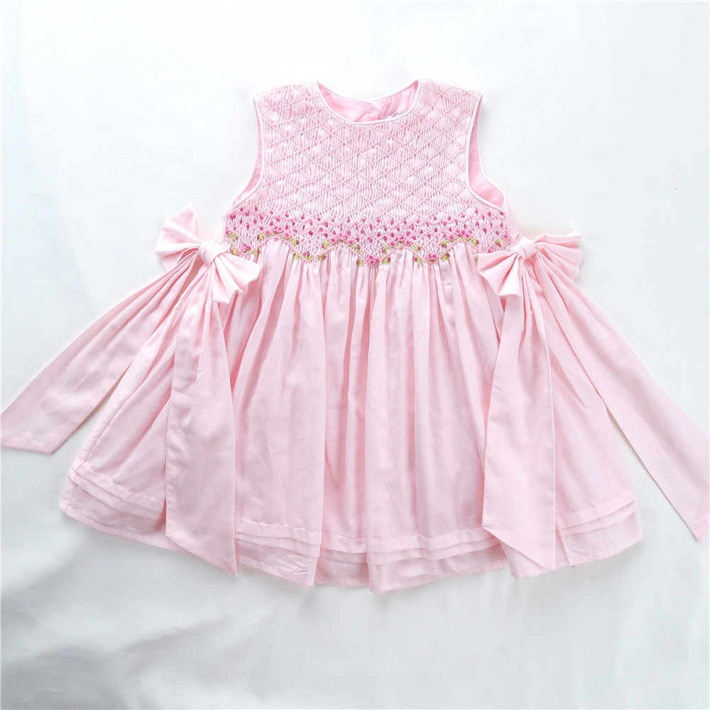 summer pink white smocked baby dresses sleeveless hand made girls frock party wedding vintage boutiques enlarge