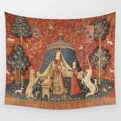 A senhora e o unicórnio tapeçaria parede pendurado toalha de praia lance cobertor piquenique yoga tapete tapeçarias decoração para casa