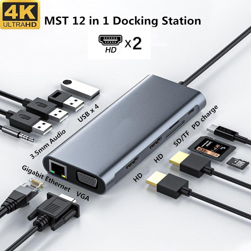 محور USB C لجهاز Macbook Pro ، شاشة ثلاثية من النوع C ، لقارئات HDMI و DP SD ، RJ45 ، 3.5 مللي متر ، Aux ، PD ، محول محور USB