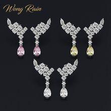 Wong pluie luxe 100% 925 en argent Sterling poire créé Moissanite pierre gemme goutte balancent aile boucles doreilles Fine bijoux cadeau en gros