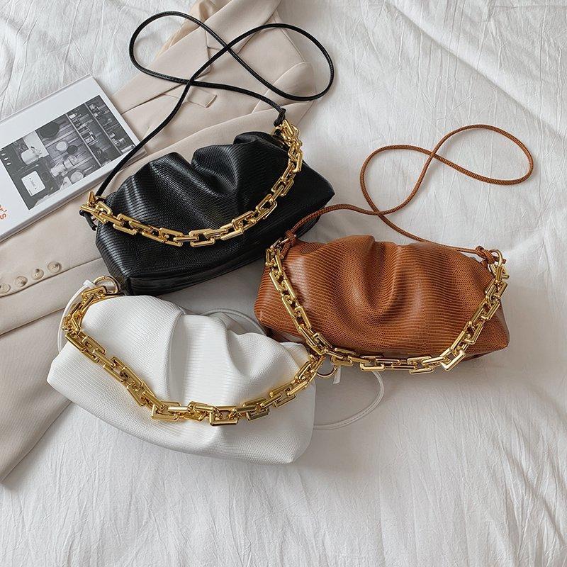 Gold Chain PU Leather Bag For Women 2021Summer Armpit bag Lady Shoulder Handbags Female Solid Color