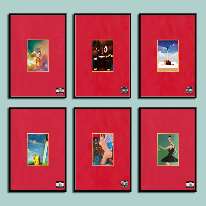 AliExpress - My Beautiful Dark Twisted Fantasy Kanye West Hot Album Music Cover Hip Hop Art Canvas Painting Poster Wall quadro cuadros