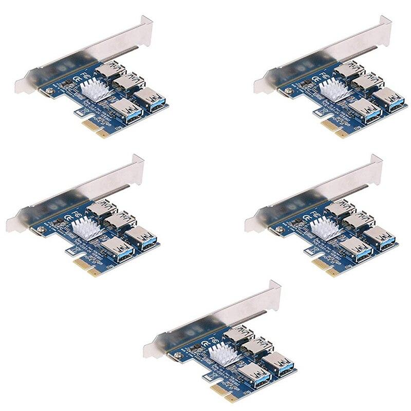 5 قطعة PCIe 1 Naar 4 PCI Express 16X بطاقة الناهض PCI-E 1X Naar Externe 4 Pci-E فتحة محول مضاعف