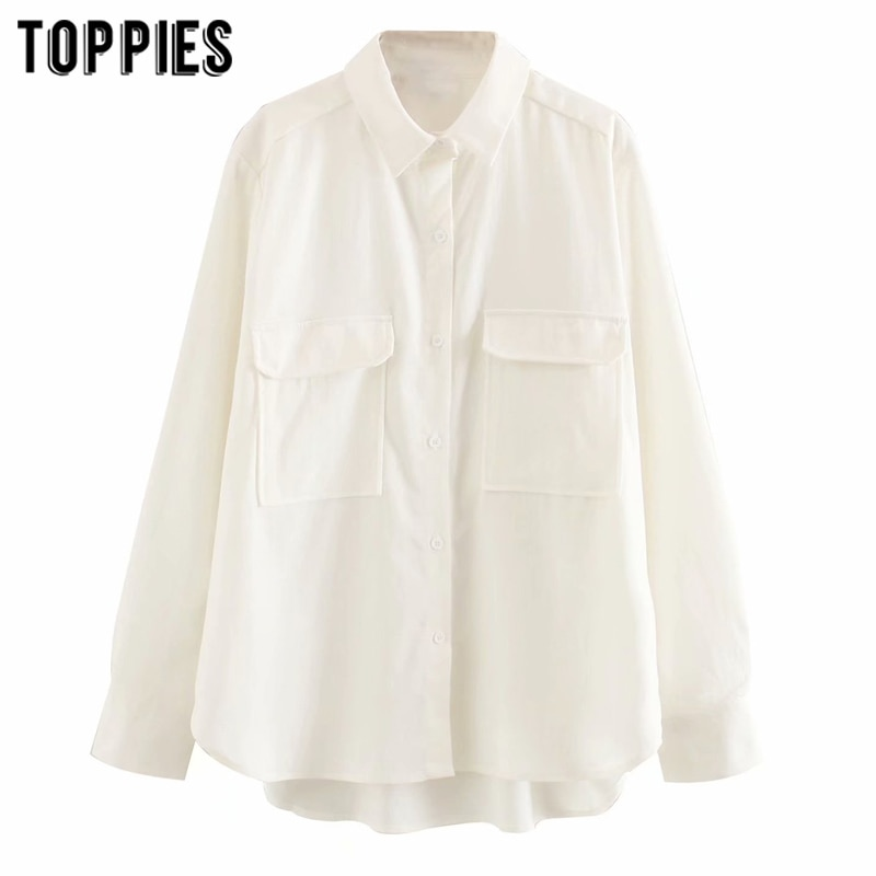 boyfriend shirts white long shirts women's long sleeve tops pockets oversized blouses 2020 fashion clothes