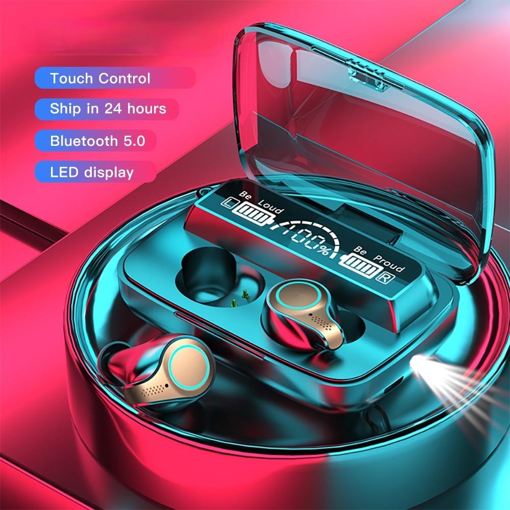 F9 M18 TWS Bluetooth Earphones Wireless Earbud Waterproof Sports Touch Control Earphone Lighting Cha