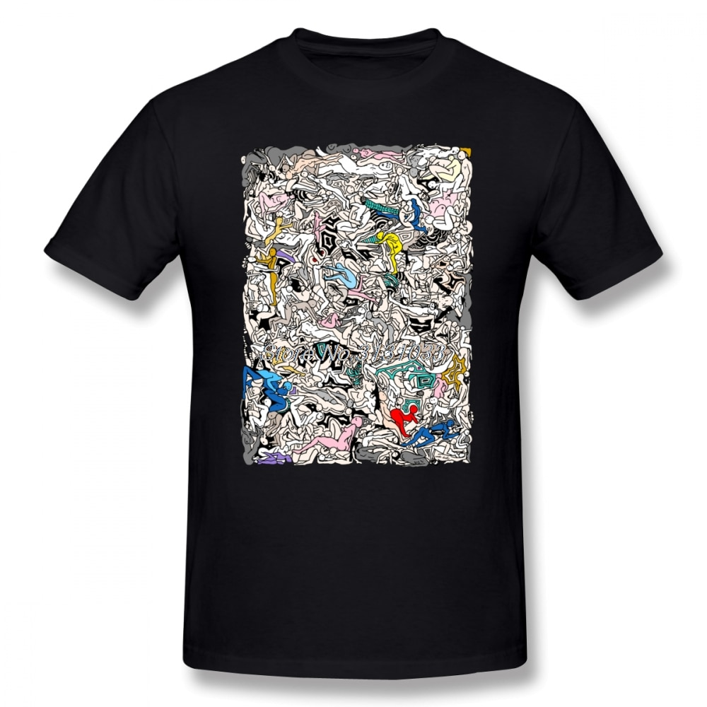 Kamasutra LOVE, camiseta de garabatos con estampado del % de algodón para hombre, camiseta divertida, camiseta informal impresionante de manga corta para hombre