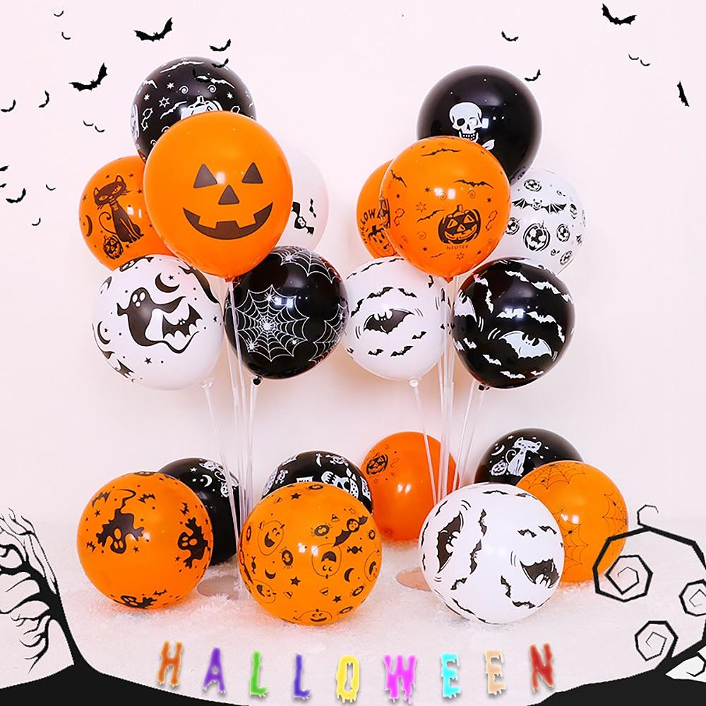 100 Uds globo de látex de Halloween para decoración de fiesta versátil calabaza esqueleto globo de alta calidad negro impresión naranja globo