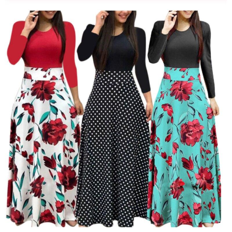 Women Floral Print Stitching Flower Casual Long Party Dress Vestidos Bodycon Elegant Sexy Woman Maxi Dress Femme 2021 Plus Size