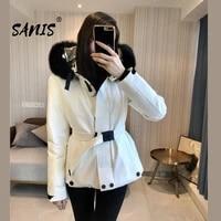 sanis 2021women down jackets 3 colors large fox fur collar black ski down coats female winter fashion clothes