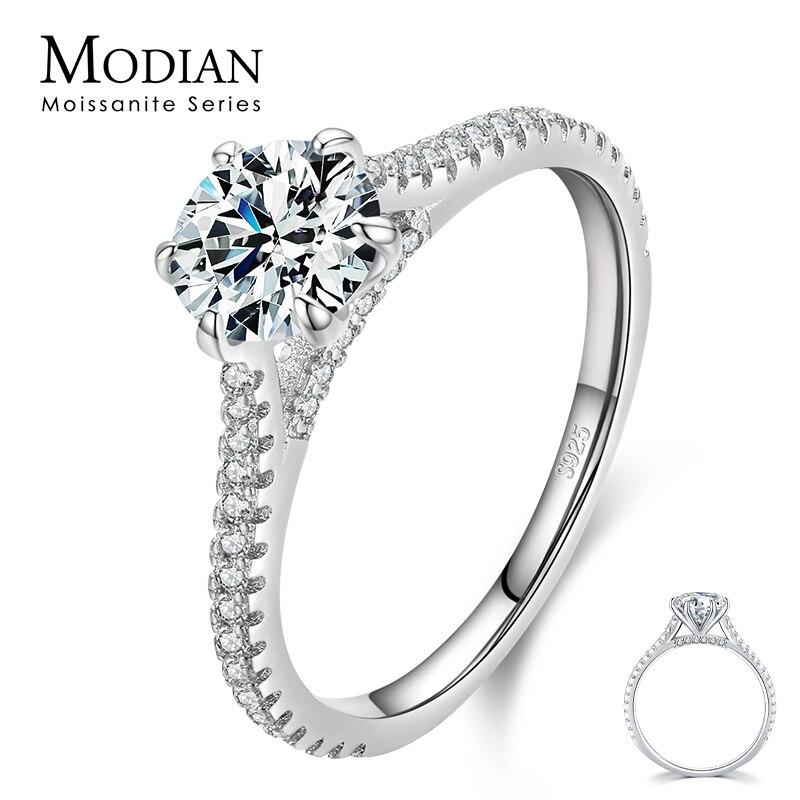 مويسانيتي-خاتم خطوبة من الفضة الإسترليني عيار 925 ، 1 قيراط ، للنساء