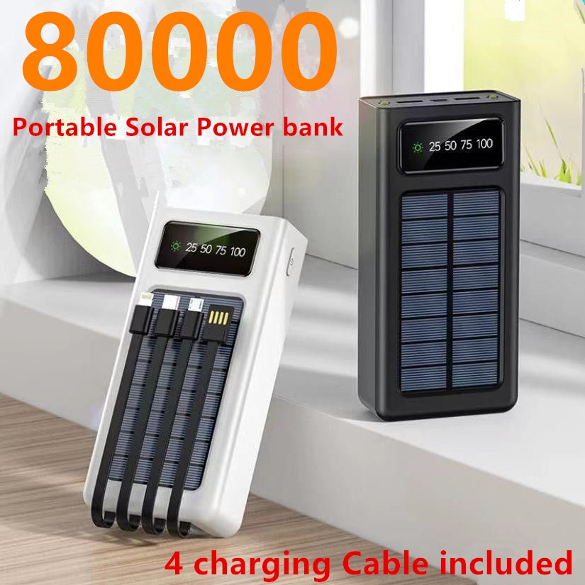 80000mAh Solar Power Bank with 4 charging cable Portable Outdoor Charger Phone Charger for Xiaomi Samsung Iphone Powerbank