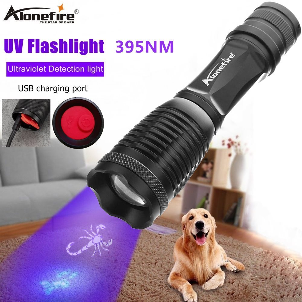 Alonefire E007-C, linterna UV de 395nm, luz de Ultravioleta recargable con función de Zoom, luz UV negra, Detector de manchas de orina de mascotas