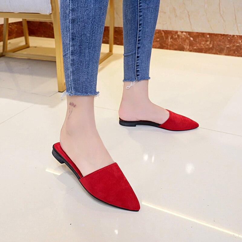 2020 mulher sapatos flats mulas moda apontou toe chinelos deslizamento em slides senhoras rasas sandálias zapatos mujer preto vermelho verde