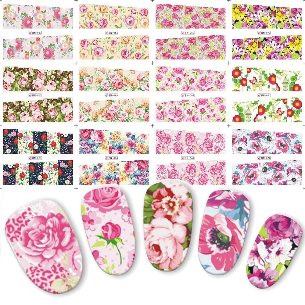 12 Uds. Encantadoras flores de peonía agua adhesivos de transferencia de manicura cubierta completa uñas pegatinas de etiquetas deslizador belleza BN061-072