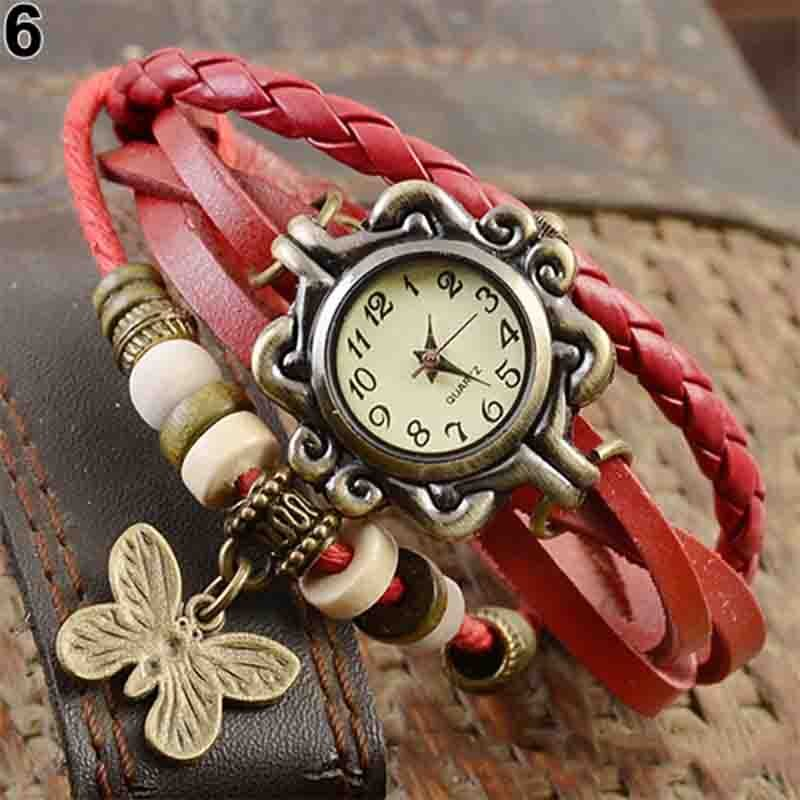 Women Casual Vintage Multilayer Butterfly Faux Leather Bracelet Ladies Watch Dropshipping Handmade Braided Dreamcatcher