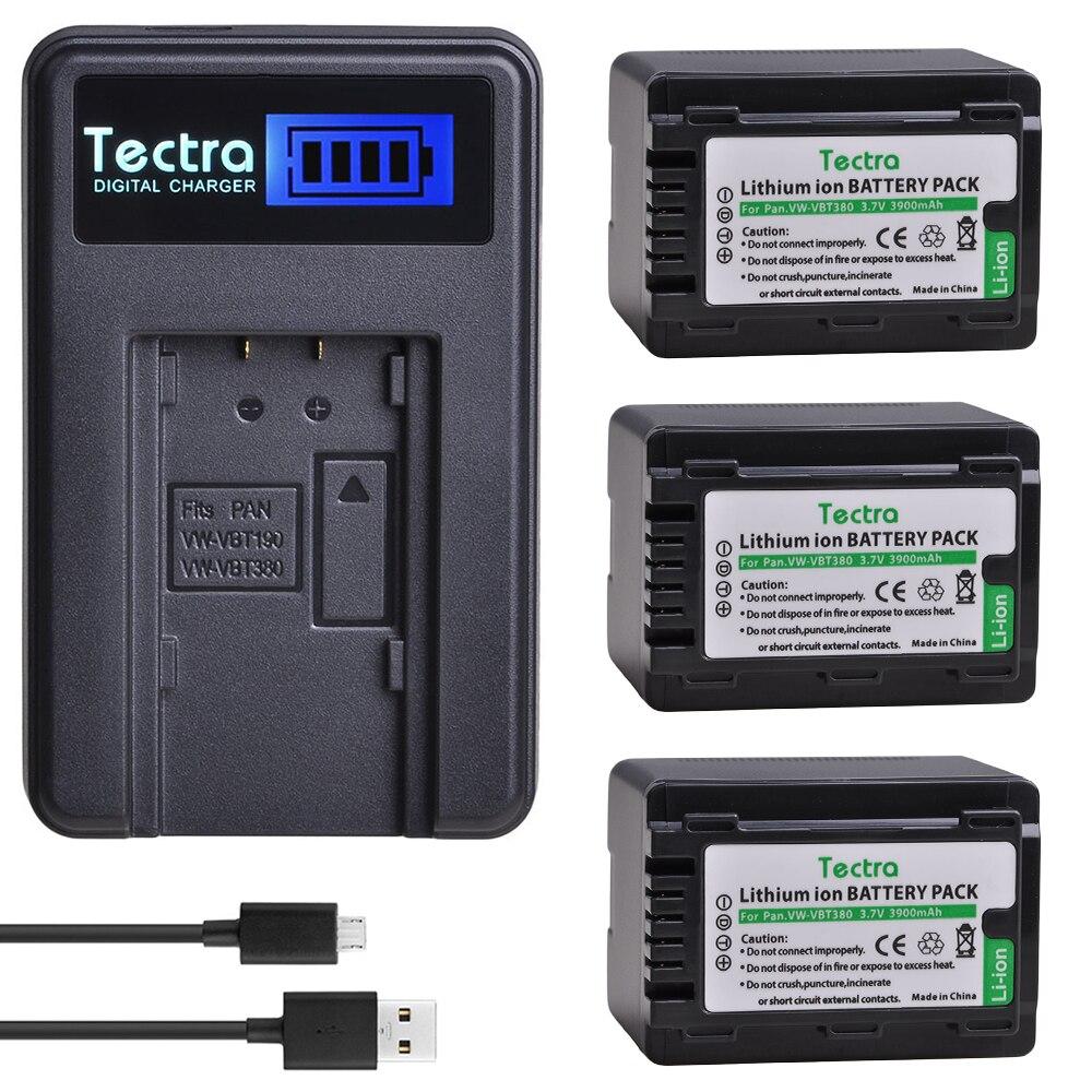3 шт. VW-VBT380 VW VBT380 VBT380 батареи + ЖК-зарядное устройство для Panasonic HC-V110,HC-V130,HC-V160,HC-V180,HC-V201,HC-V250,HC-V260