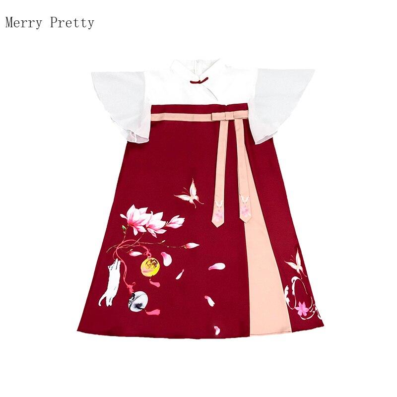 Vestido cheongsam rojo chino para mujeres floral peinr con encaje vestido de cintura alta 2020 verano manga corta longitud hasta la rodilla vestido estrecho