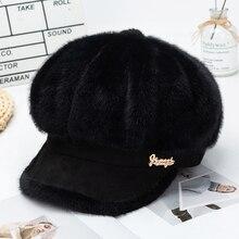Onidfurow-casquette en velours pour femmes, casquette octogonale, chapeau, Newsboy élégant de peintre, noir, gris
