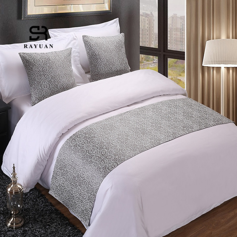 RAYUAN colcha Floral de plata, colcha Floral para cama, ropa de cama, cama individual de matrimonio, cubierta de cama, toalla, decoraciones para Hotel, hogar