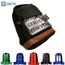 EDBETOS gran oferta JDM estilo automovilístico novia mochila tejido asientos Bride Material de tela Mochila (rojo/azul/arnés negro correas)