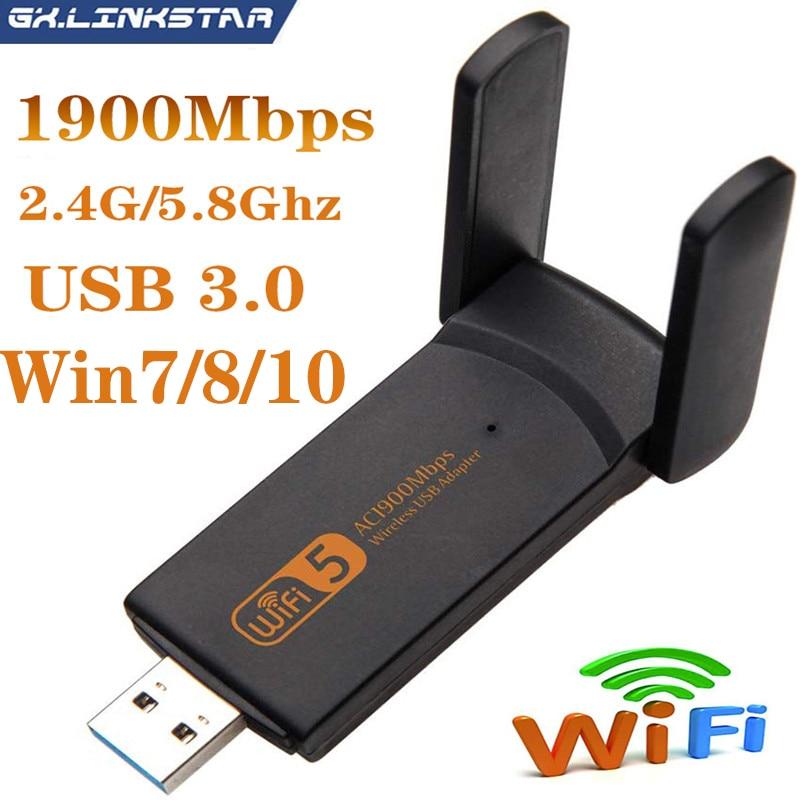 1900 Мбит/с USB Беспроводной адаптер Wi-Fi 802.11ac двухдиапазонный Wi-Fi приемник сетевая карта 2,4 г/с) Wi-Fi 5 ГГц драйвер ForWin7/8/10 портативных ПК