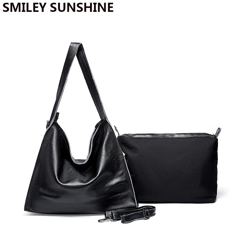 Real Cow Genuine Leather Bag Large Women Quality Leather Handbag Ladies Big Shoulder Bag High Quality Winter Bag Free Shipping