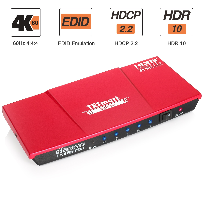 HDMI сплиттер 1x4, 1 в 4 Выход UHD 4K @ 60 Гц 4:4:4 поддерживает HDCP 2,2, 18 Гбит/с, HDR10, Dolby Vision, Lpcm 7,1 со Smart EDID