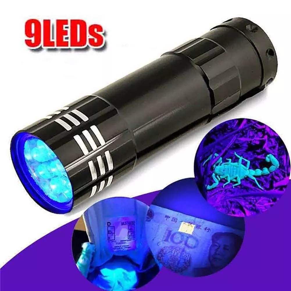 Mini UV ULTRA VIOLET 9 LED Flashlight Torch 4.5v Light Waterproof Aluminum Lamp Outdoor Portable Tac