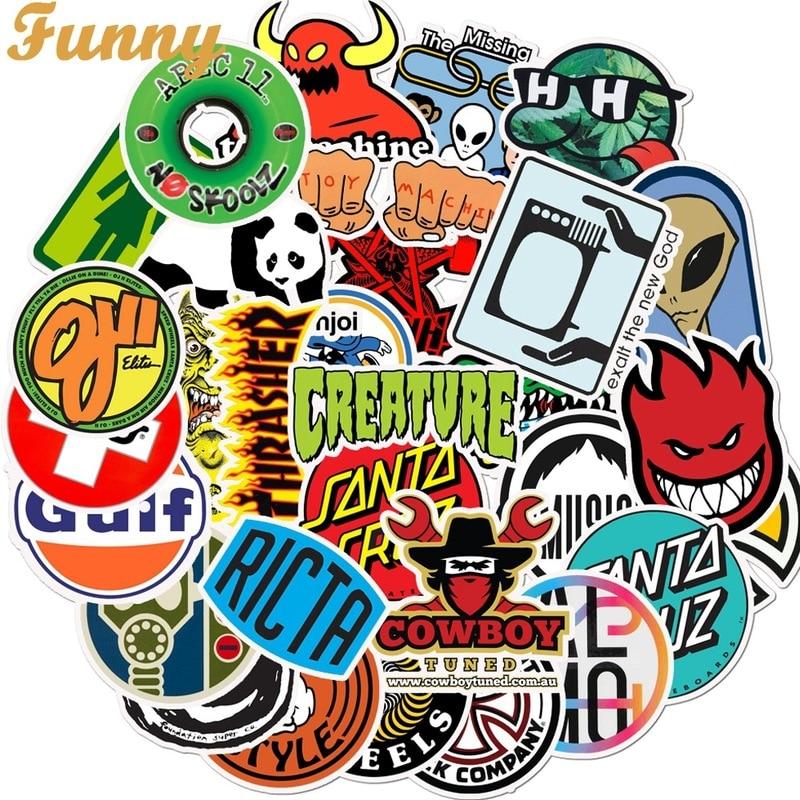 50 шт логотип моды бренд граффити наклейки гитара ноутбук Macbook чашка воды багаж Холодильник Скейтборд велосипед Наклейка Стикер