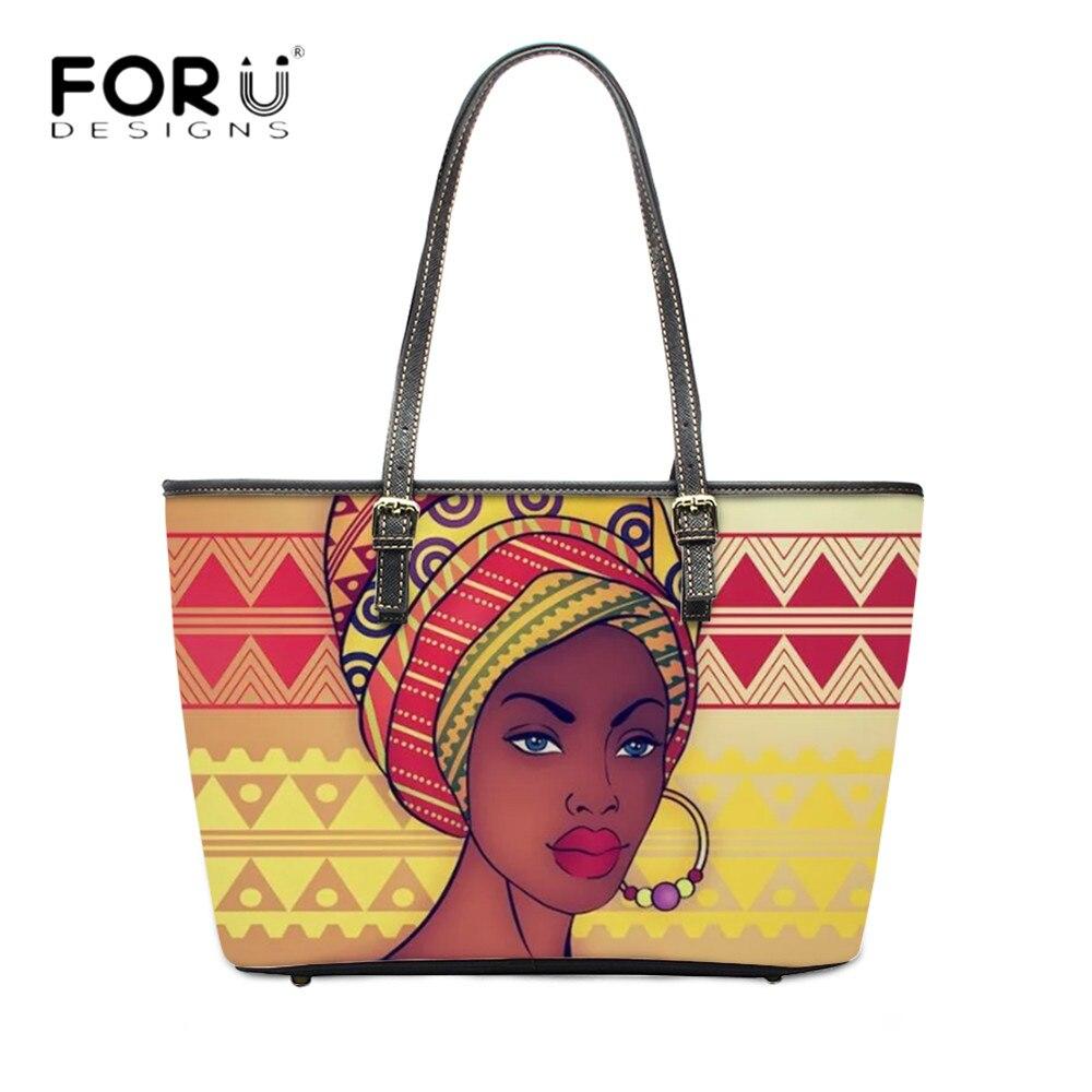 FORUDESIGN, bolsos de moda Vintage para mujer, bolsos africanos con impresión de pendientes, comprador ecológico, Bolsa de hombro para mujer