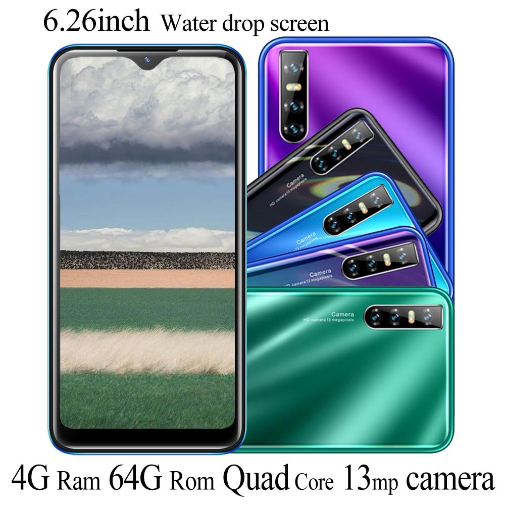 نوت 8t 4G RAM شاحن هاتف محمول يعمل بنظام تشغيل أندرويد 6.26 بوصة 64G ROM 13mp كاميرا قطرة الماء شاشة كاملة رباعية النواة معرف الوجه غير مقفلة الهواتف الذ...