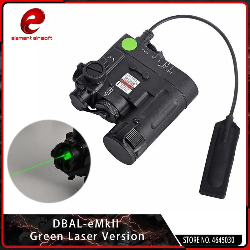 Elemento Airsoft DBAL-D2 verde e IR láser DBAL-EMKII linterna táctica arma DBAL D2 para caza riel Picatinny