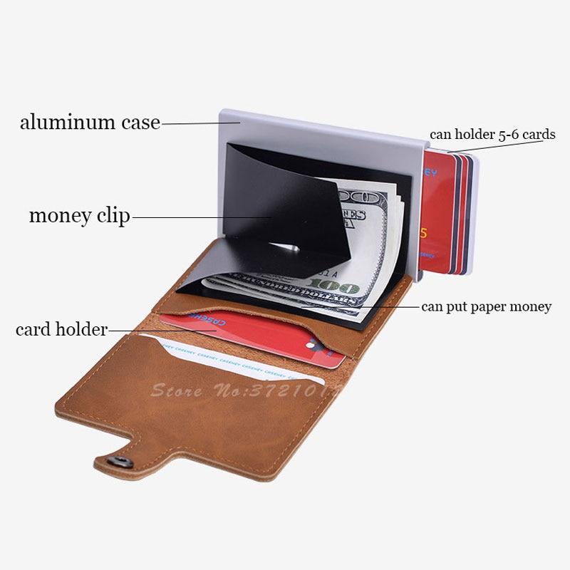 Bloqueio do Vintage Titular do Cartão de Crédito da Liga de Alumínio Case do Cartão de Identificação do Negócio Automático Masculino Metal Couro Titular Carteira