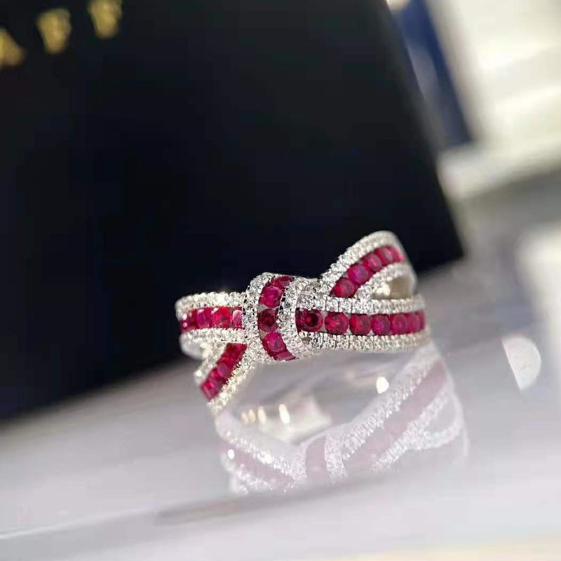 OEVAS 100% 925 Sterling Silver Ruby Gemstone Diamond Bowknot Rings For Women Sparkling Wedding Party Fine Jewelry Wholesale Gift