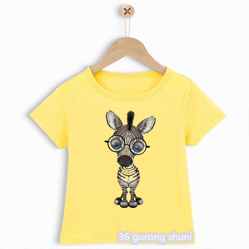boys animal print t shirt T-shirt for boys fun zebra cartoon print kids clothes summer vogue cute animal graphic tees boys t shirt yellow shortsleeve tops