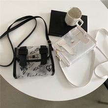 Women Transparent Design Luxury Hand Bag Female Travel PU PVC Patchwork Messenger Bag Preppy Style S