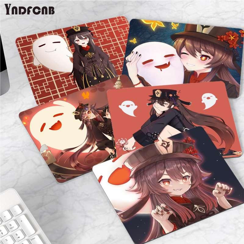 YNDFCNB Забавный ударный небольшой коврик для мыши Ху Тао Genshin, компьютерный коврик, гладкий коврик для письма, коврик для мыши для настольных к...