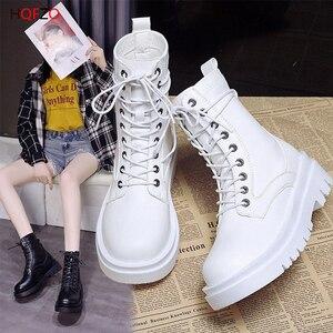 HOFZO Women Ankle Boots Platform PU Leather Botas Lace Up Booties High Top Casual Autumn Shoes Designer Sapatos De Mujer
